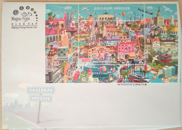 Countries cities hungarian stamp sheet fdc03c