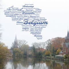 Greetings from Belgium - Wordcloud Postcard