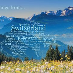 Greetings from Switzerland - Wordcloud Postcard