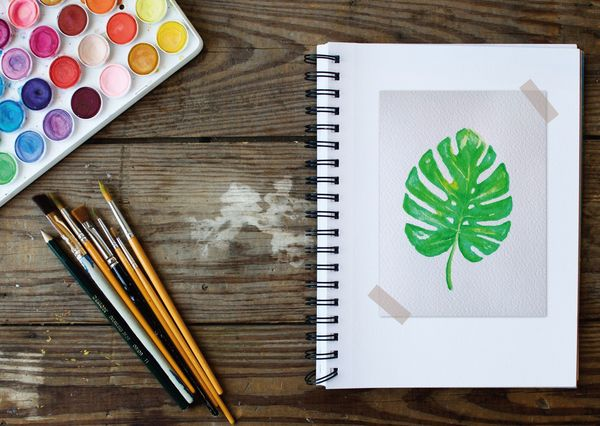 Philodendron leaf watercoloring postcard ar109c
