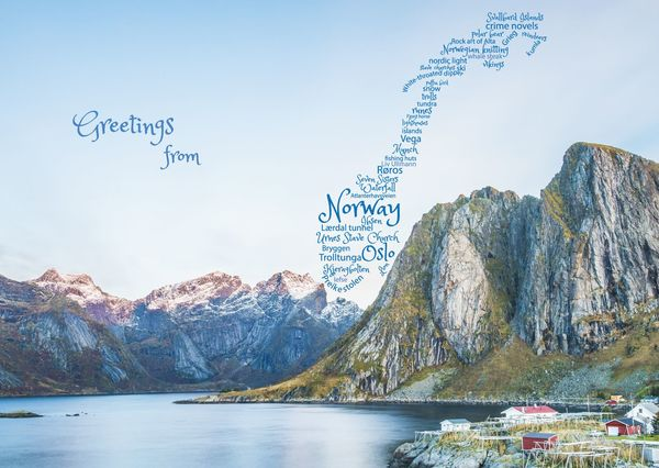 Norway word cloud postcard by postcardsisters gf121c
