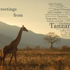 Greetings from Tanzania - Wordcloud Postcard