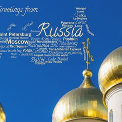 Greetings from Russia - Wordcloud Postcard