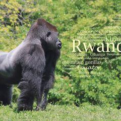Greetings from Ruanda - Wortwolke Postkarte