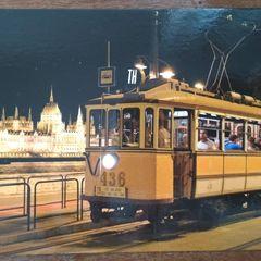 Nosztalgia villamos Budapesten - képeslap